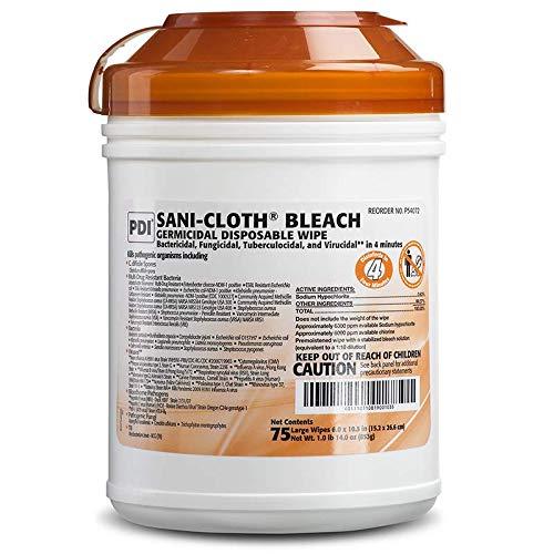 SANI-CLOTH Bleach Germicidal Disposable Wipes ( WIPE, SANI-CLOTH, BLEACH, GERMICIDAL, 75/TB ) 12 Each / Case