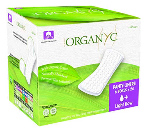Organyc 100% Organic Cotton Panty Liners for Sensitive Skin, Light Plus, 144 Count
