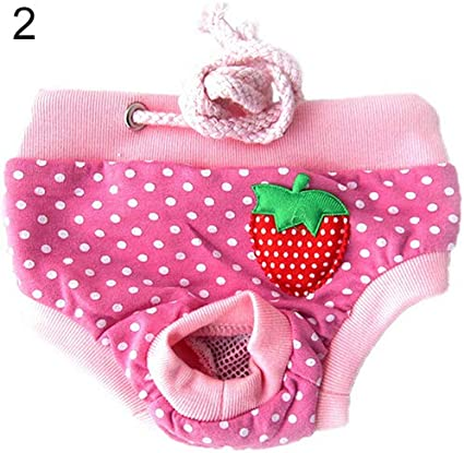 Female Pet Dog Sanitary Diaper Pants Puppy Physiological Menstrual Panty M, Pink with white dots