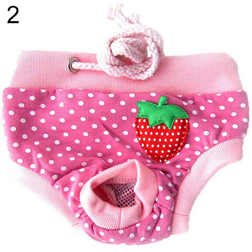 BLagenertJ Diaper Pants Physiological Sanitary Short Panty Nappy Underwear Strawberry Striped for Female Pet Dog Puppy Pink S