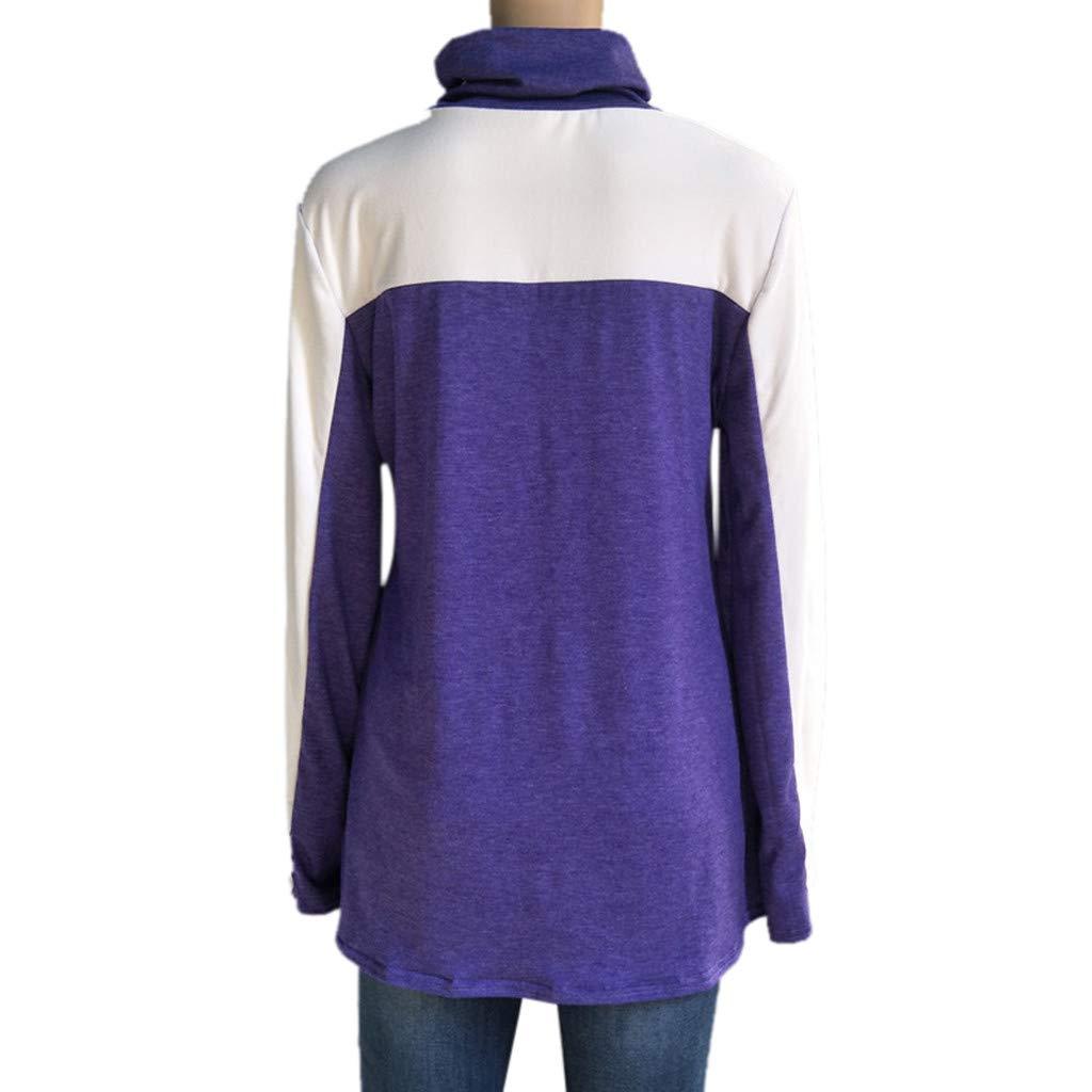 Sudaderas para mujer Hanomes Cuello Tortuga para Mujer Camiseta de Manga Larga con Blusa de Manga Larga y Bloque de Color Vintage Camiseta: Amazon.es: Ropa ...
