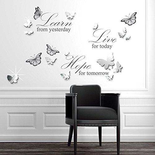 WALPLUS Wall Stickers Combo, Butterflies Mirror Wall Art Plus Live Learn Hope Quote, 110Cm X 64Cm, PVC, Silver, Grey
