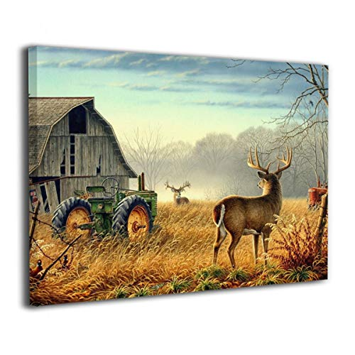 "Okoart Canvas Wall Art Prints Animal Whitetail Deers Farm House -Picture Paintings Modern Decorative Giclee Artwork Wall Decor-Wood Frame Gallery Stretched 16""x20"""