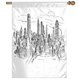 HUANGLING Hand Drawn NYC Cityscape Tourism Travel Industrial Center Town Modern City Design Home Flag Garden Flag Demonstrations Flag Family Party Flag Match Flag 27''x37''