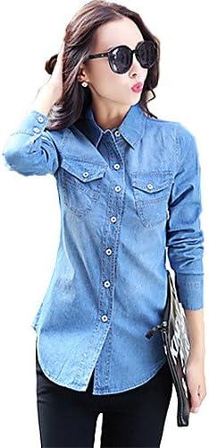 Camisas para mujer y chemisiers camisa volantes en los mujeres manga larga cuello de camisa algodón, color azul claro, tamaño small: Amazon.es: Deportes y aire libre
