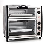 oneConcept All-You-Can-Eat - v2, Double Electric Oven, 2 Cooking Chambers, Top Grill, Total Capacity 42 L, 2400 W, Temperature: 60-240 ° C, Timer, Stainless Steel, Silver