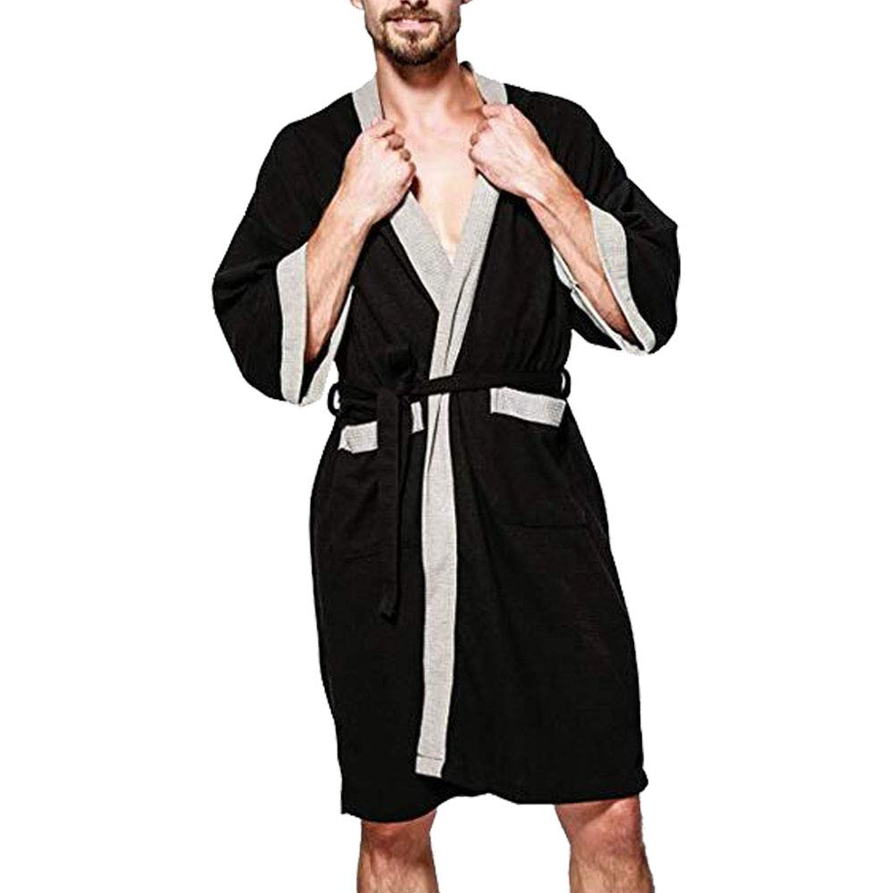 OGOUGUAN Colour-Store Men's Waffle Kimono Robe Cotton Lightweight Nightgowns Spa Terry Cloth Bathrobe Sleepwear with Pockets (Black-Grey, L)