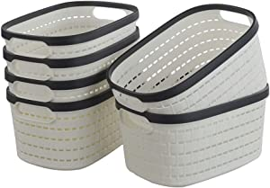 Hommp 6-Pack Plastic Storage Basket/Organizer Bin, White
