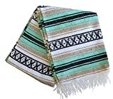 Del Mex (TM) Mint Seafoam and Tan Mexican Blanket Vintage Style (Balboa)