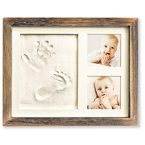 Baby Hand and Footprint Kit in Rustic Farmhouse Frame, a Baby Registry Must Have - Baby Handprint Kit, Baby Footprint Kit, Baby Nursery Decor (Brown) from MAINEVENT