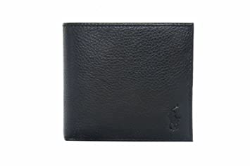 b1a040e77c04 Ralph Lauren Mens Leather Wallet in Black with Coin Pocket: Amazon ...