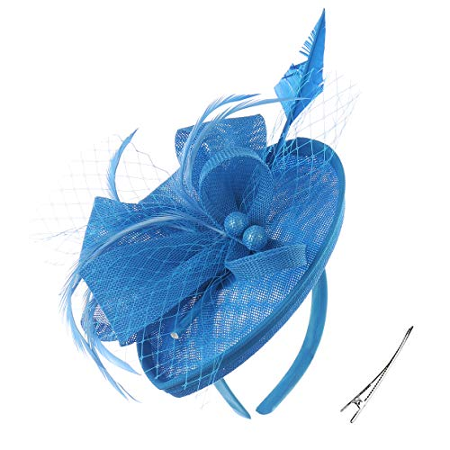 Felizhouse Fascinator Hats Women Ladies Feather Cocktail Party Hats Bridal Headpieces Kentucky Derby Ascot Fascinator Headband (#2 Cambric Lake Blue)]()