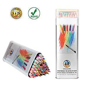 Kasimir Colored Pencils Watercolor Oil Based Pencil Sets with Tin Box Soft Core for Kid Adult Artist Professional Anime Adult Coloring Books(Pack of 48)