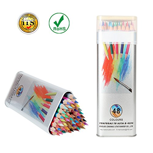 Kasimir Colored Pencils Watercolor Oil Based Pencil Sets with Tin Box Soft Core for Kid Adult Artist Professional Anime Adult Coloring Books(Pack of - Case Tin Set