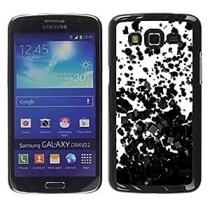 TaiTech / Prima Delgada SLIM Casa Carcasa Funda Case Bandera Cover Armor Shell PC / Aliminium - Cubos Negro Patrón - Samsung Galaxy Grand 2