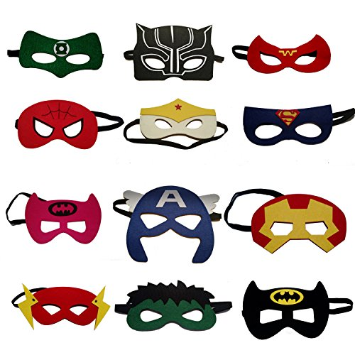 Superhero Party Masks for Kids | Includes the new Black Panther Super Hero Mask | 12 Piece Superheroes Comics Masks is Great for Favors Bags & Giveaways for Boys & Girls