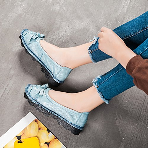 Mordenmiss Womens Trend Candy Bowknot Balletto Nastro Piatto Slip On Style 2 Blu