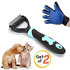 KDESIGN Pet Grooming Glove - Five Finger Design - Brushes Tool for Dogs - Gentle Deshedding Brush Glove - Efficient Pet Hair Remover Mitt, Perfect for Dog & Cat with Long & Short, Medium or Long Fur