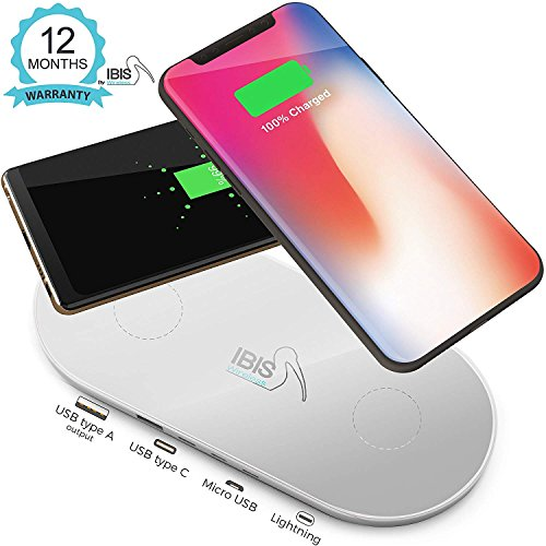 IBIS Wireless Dual Wireless Charging Pad Fast Charges 3 Devices At Once – Certified Qi Wireless Phone Charger - USB C, Lightning & Micro – Wireless Charging Station For iPhone X, 8, Galaxy S And More. (Dual Station Charging)