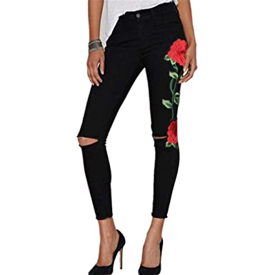 Hose 2018 Damen Skinny Schwarz Jeans Floral Hosen Bleistift OPXuZik