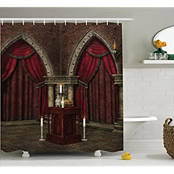 ambesonne gothic house decor shower curtain set mysterious dark room in castle ancient pillars candles