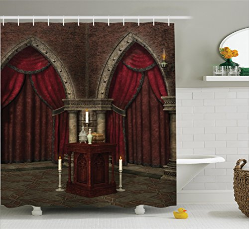 Ambesonne Gothic House Decor Shower Curtain Set, Mysterious Dark Room in Castle Ancient Pillars Candles Spiritual Atmosphere Pattern, Bathroom Accessories, 84 Inches Extralong, Ruby Umber