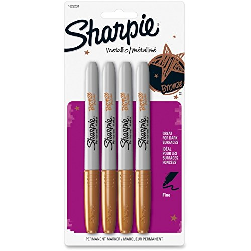 - Sharpie Metallic Permanent Markers, Gold, 4/Pack