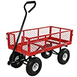 Best Folding Wagons - Sunnydaze Red Heavy-Duty Steel Log Cart, 34 Inches Review