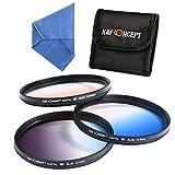 K&F Concep 3pcs Super Slim 77mm Graduated Color Lens Filter Kit Orange Blue Grey(ND4) For Nikon D70 D90 D7100 D3200 D7000 D5100 DSLR Camera with 24-70mm 10-24mm 16-35mm 18-35mm 70-200mm Lens + Cleaning Cloth + Filter Bag