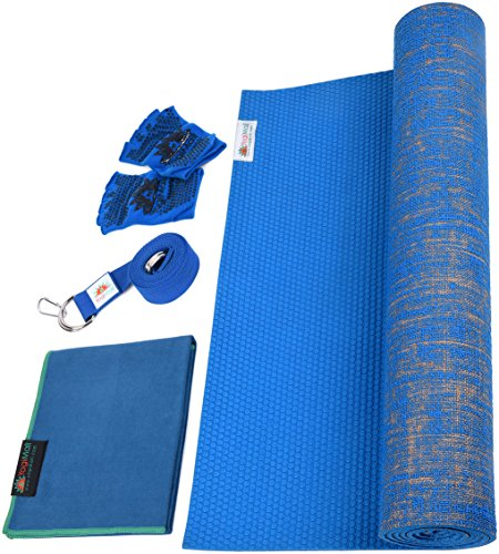 Eco Yoga Kit (YogiMall Natural Jute Yoga Mat, Non Slip Yoga Socks, Cotton Strap & Hand Towel 5 Piece Set – Eco Friendly & SGS Certified - Reversible Yoga Mat Set All Types Yoga, Pilates & Exercise (Blue))