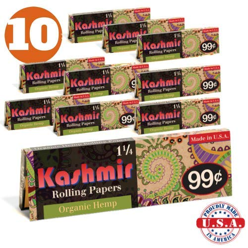 Kashmir Rolling Paper 100% Organic Hemp 1-1/4 Cigarette Rolling Papers - Made in The USA (10)