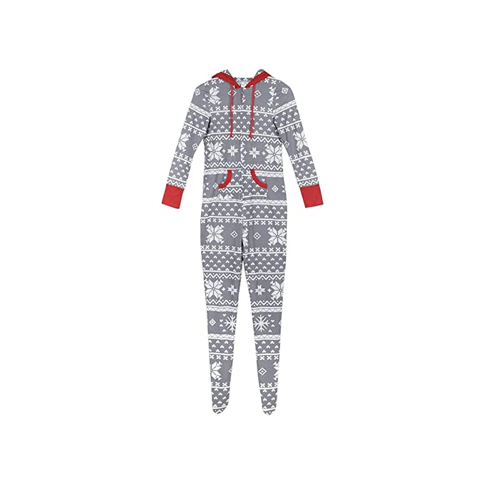 Zhhlinyuan Encapuchado Pijamas Familiares de Navidad - Padre Madre Niños Manga Larga Copo de Nieve Impreso