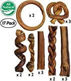 Bully Stick Variety Pack for Dogs | Best Mix of Natural Low-Odor Beef Stix | Pizzle Dental Treat Chews: Straight, Braided, Ring, Spring, Barbell, Pretzel, etc. (for Medium to Giant Dogs (Jumbo Pack)) For Sale