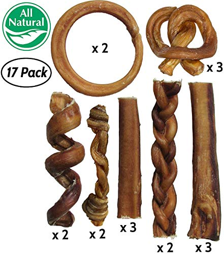 Bully Stick Variety Pack for Dogs | Best Mix of Natural Low-Odor Beef Stix | Pizzle Dental Treat Chews: Straight, Braided, Ring, Spring, Barbell, Pretzel, etc. (for Medium to Giant Dogs (Jumbo Pack))