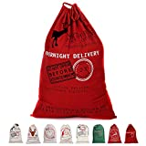 "Newdanceus Christmas Santa Sack Personalized Canvas Gift Bags with Drawstring Special Delivery 27.5""x19.5"" (Red Overnight delivery)"