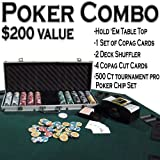 Texas Hold 'Em Poker Combo Pack w/ Table Top - All-in-one Kit