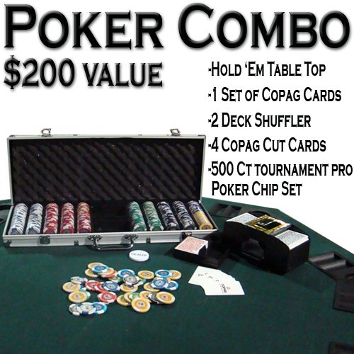 Texas Hold 'Em Poker Combo Pack w/ Table Top - All-in-one Kit by Brybelly