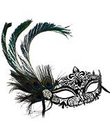 Simone Laser-Cut Metal Black Venetian Women's Masquerade Mask w/ Peacock Feather