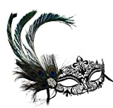 Simone Laser-Cut Metal Black Venetian Women's Masquerade Mask w/ Peacock Feather