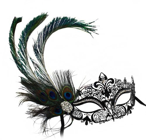 [Simone Laser-Cut Metal Black Venetian Women's Masquerade Mask w/ Peacock Feather] (Masquerade Masks Metal)
