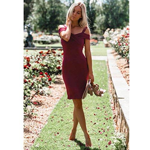 LHWY Kleider Damen Elegant, Frauen Formale Ballkleid Party Prom Brautjungfer Abend Maxi Kleid Slim Fit Kostüm Sommer Wine