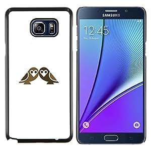 KLONGSHOP // Cubierta de piel con cierre a presión Shell trasero duro de goma Protección Caso - pájaros dobles - Samsung Galaxy Note 5 5th N9200 //