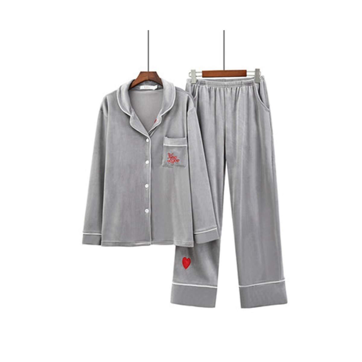 TENGTENGCAI Super-Costumes Pyjama Pantalon Souple Col Roulé À Manches Longues Cardigan Gris Vêtements Vêtements Chauds M