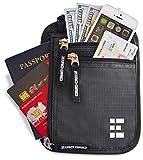 Zero Grid Neck Wallet w/RFID Blocking- Concealed Travel Pouch & Passport Holder (Shadow)