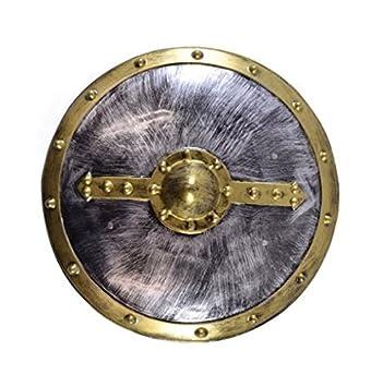 Plastic Roman Shield Gold Fun Costume Accessory Party Supply