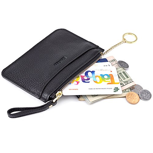 MaxGear Women's Wallet Genuine Leather Credit Card Holder Coin Purse With Key Ring