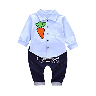 34765dad2a4a Anglewolf 2Pcs Infant Toddler Baby Boys New Spring Fashion Cute Printing  Soft Cotton Tops Spring Fashion