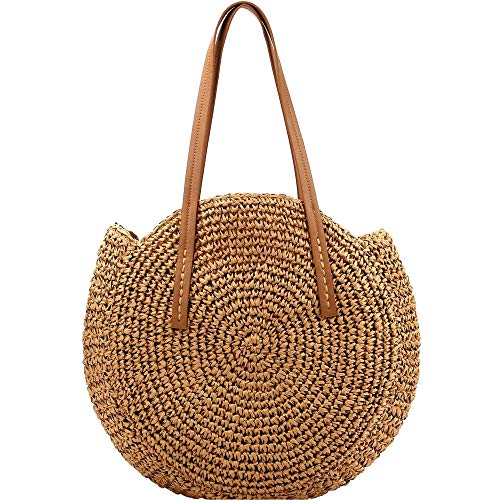 Knitted Crochet Straw Large Round Tote Hobo Summer Beach Bali Boho Purse Handbag (Round Circle Tote - Brown)