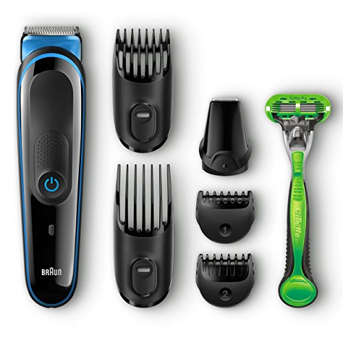 Braun MGK3040 Men's Beard Trimmer for Hair / Head Trimming Grooming Kit with 4 Combs & Gillette Body Razor, 13 Length Settings for Ultimate Precision Body Hair Grooming