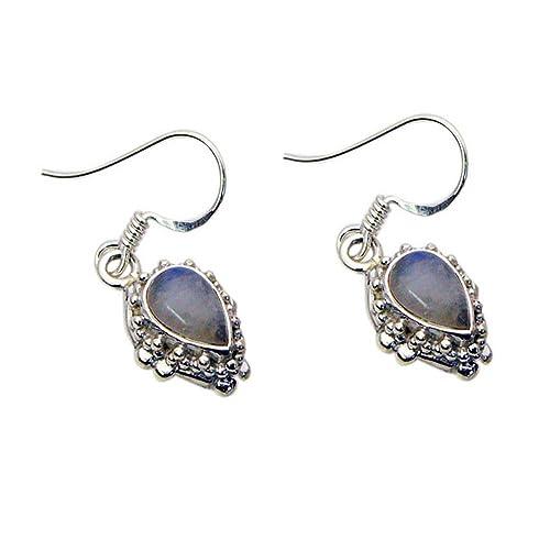 Rainbow Moonstone Sterling Silver Handmade Earrings Womens Jewelry